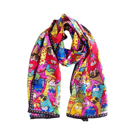 Cats Printed Silk Scarves for Women