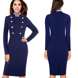 Double Breasted Vintage Bodycon Dress