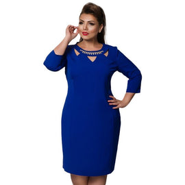 Plus Size 5XL 6XL Blue Red Bodycon Winter Dress