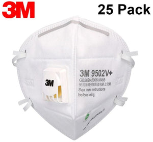 3M KN95 Particulate Respirator 9502V+ with Exhalation Valve (Pack of 25) - Equivalent as US NIOSH N95 Performance