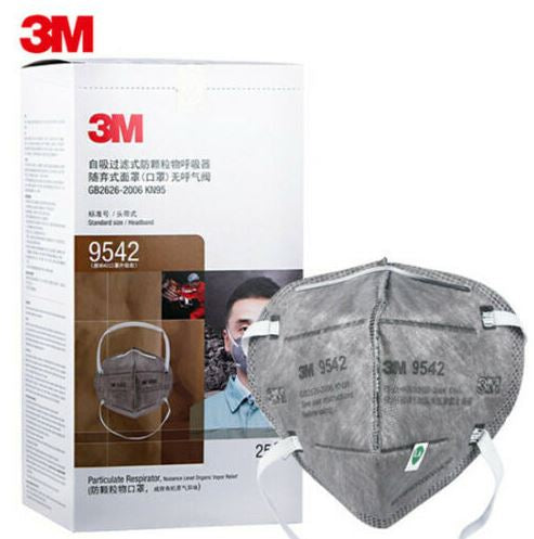 3M 9542 KN95 Particulate Respirators (Headband, Activated Carbon, No Valve) - FDA Approved for Covid-19 Protection