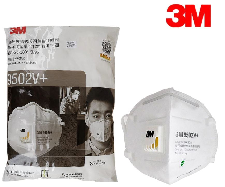 3M 9502V+ KN95 Particulate Respirators (Headband, Exhalation Valve) - FDA Approved for Covid-19 Protection