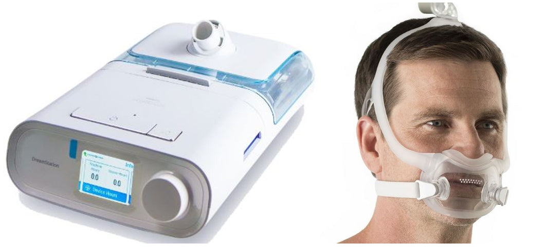 Bundle Deal: DreamStation Auto CPAP Machine (DSX500T11) and DreamWear Full Face Mask Fit-Pack (1113400) by Philips Respironics