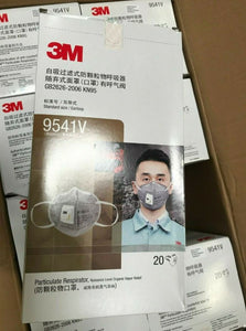 3M 9541V KN95 Particulate Respirators (Earloop, Activated Carbon, Exhalation Valve) - FDA Approved for Covid-19 Protection
