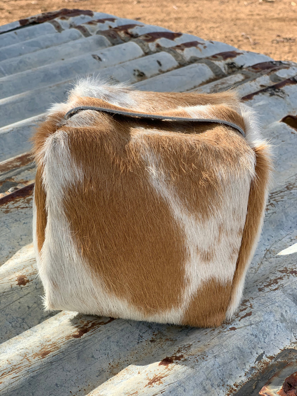 Cowhide Doorstop- Cream