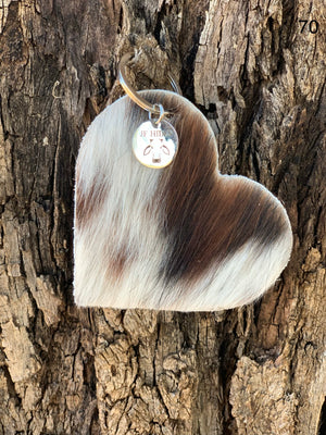 Cow Hide Heart Key Tags _ No  70