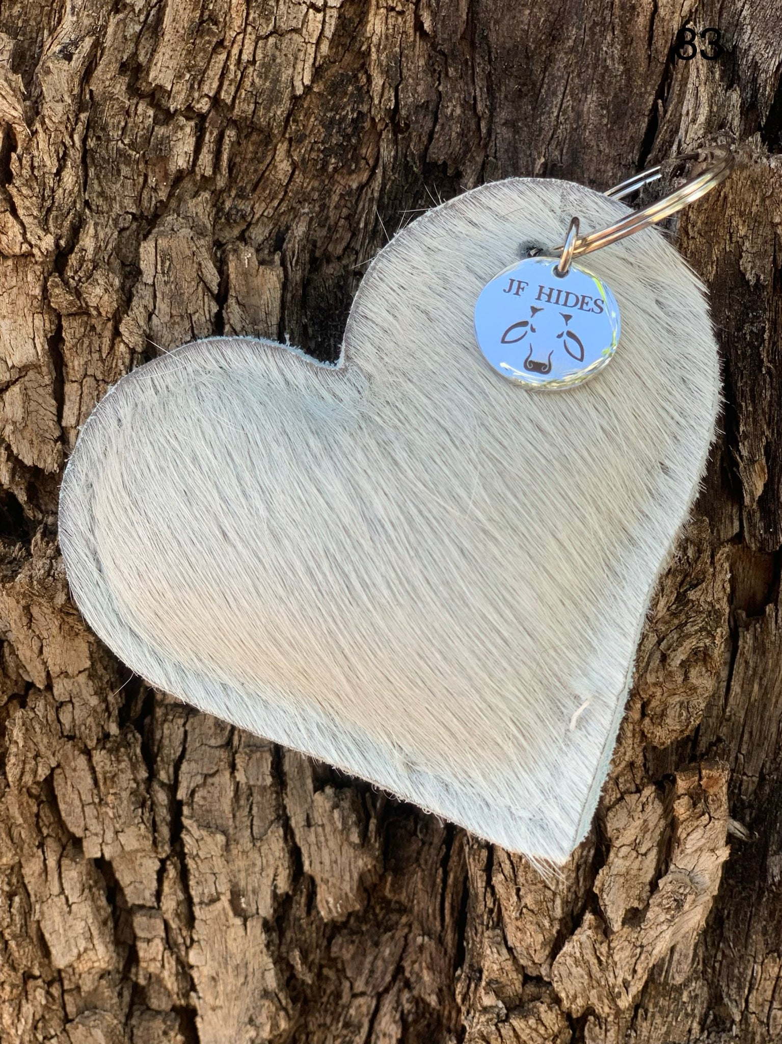 Cow Hide Heart Key Tags _ No  83