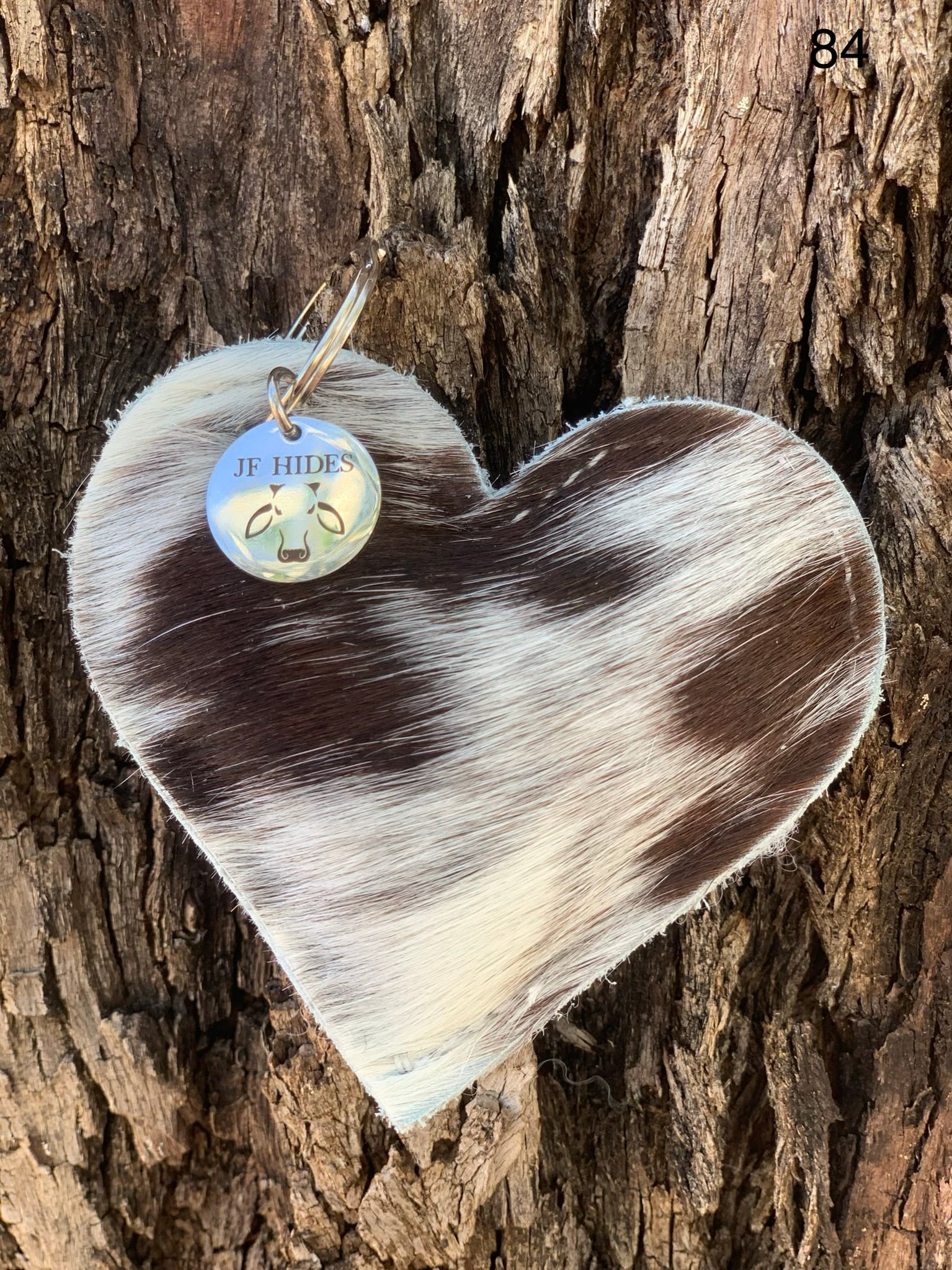Cow Hide Heart Key Tags _ No  84