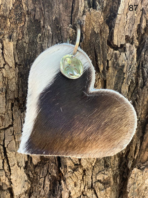 Cow Hide Heart Key Tags _ No  87