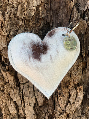 Cow Hide Heart Key Tags _ No  88