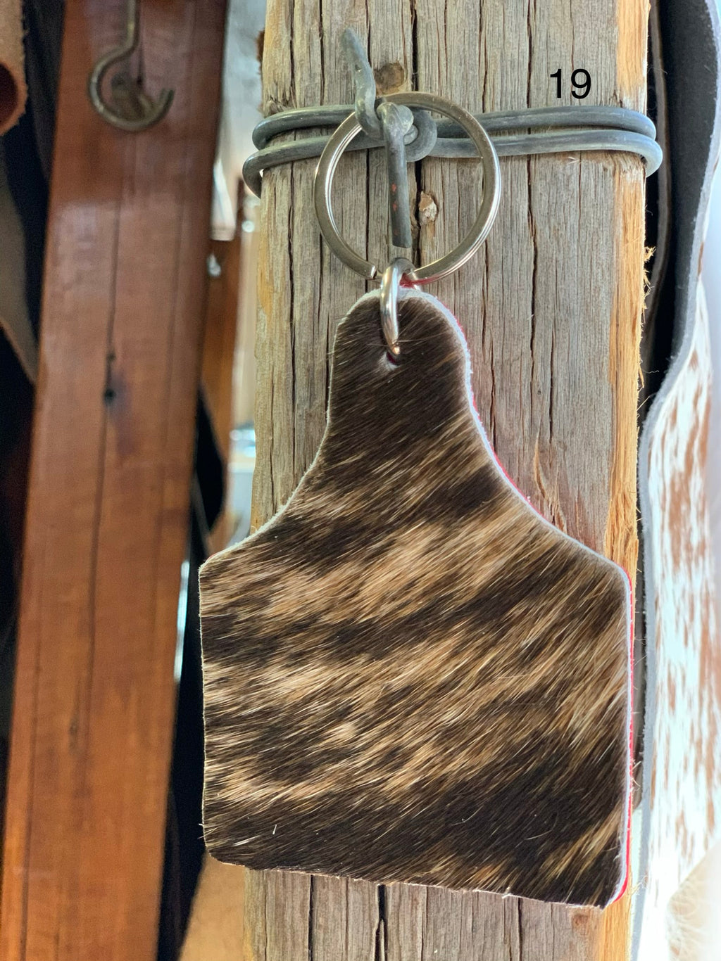 Cow Hide Key Tags _ No 19