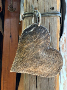 Cow Hide Heart Key Tags _ No  46