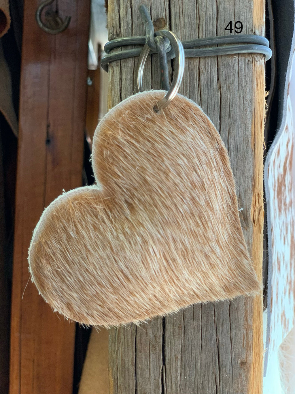 Cow Hide Heart Key Tags _ No  49