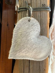 Cow Hide Heart Key Tags _ No  53