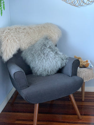 Grey Mongolian Sheepskin Cushion
