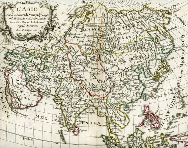 Map Of Asia In French.1762 L Asia Asia Vintage Map Print British Malaya Shop