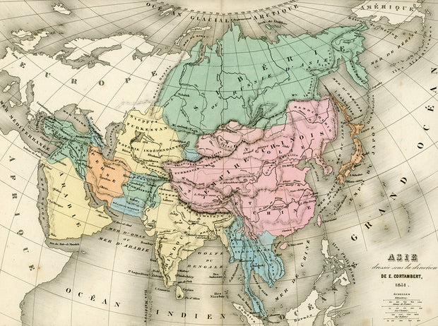 Map Of Asia In French.1851 Pastel Colors French Map Of Asia Vintage Map Print British