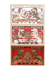 Two Lions & the World Vintage Japanese Matchbook Original Fine Art Print