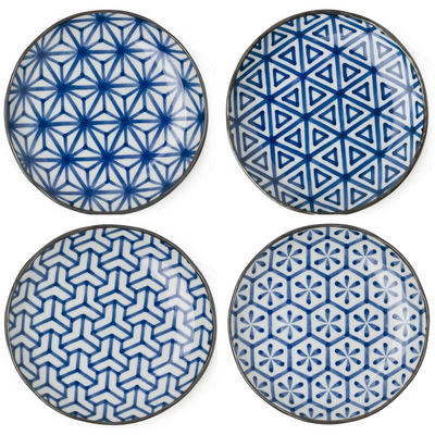 Set of 4 Japanese Blue & White Geometric Dessert/ Salad Plates - British Malaya Shop