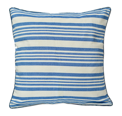 Blue & White Striped Pillow Cover Handmade in Bali - British Malaya Shop