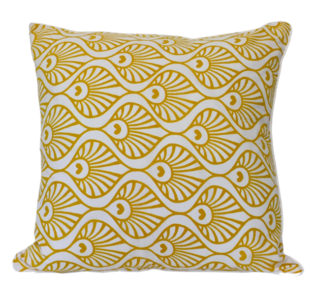 Yellow Peacock Wave Pillow Cushion Handmade in Bali - British Malaya Shop