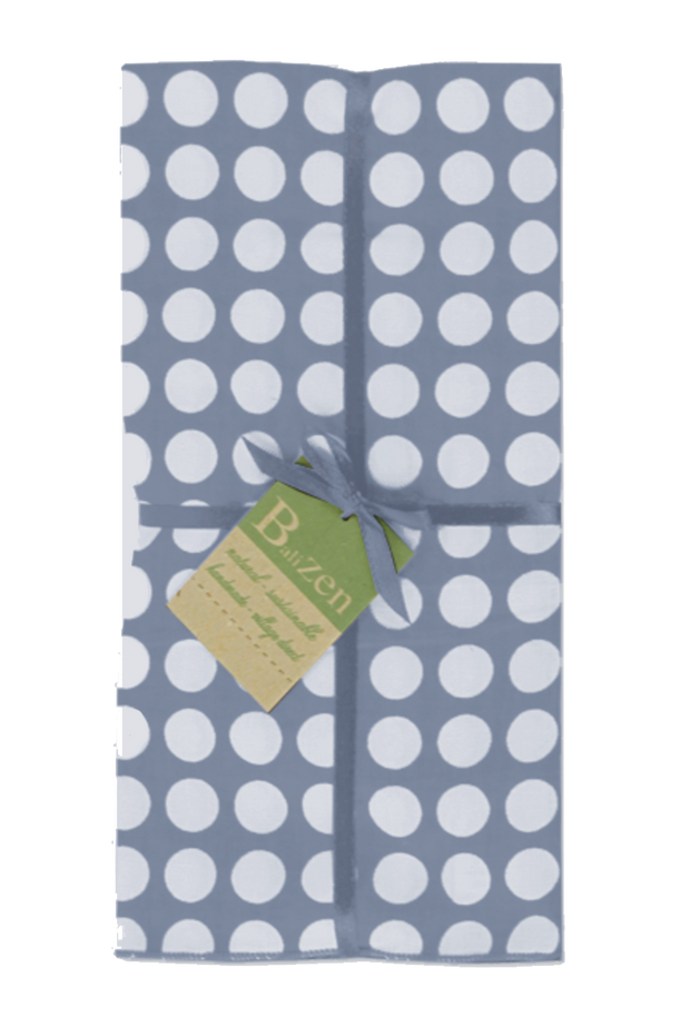 Set of 4 - Cool Gray & White Polka Dot Cotton Napkins Handmade in Bali - British Malaya Shop