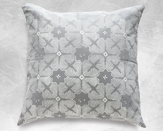 Gray Jasmine Batik Boho Pillow Cover Handmade in Indonesia - British Malaya Shop