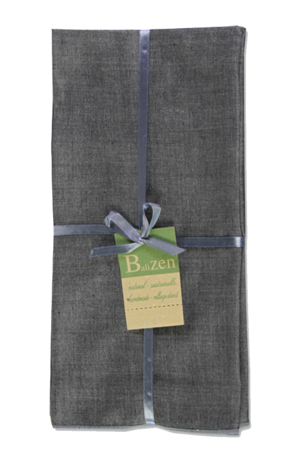 Set of 4 - Charcoal Gray Hand loomed Cotton Dinner Napkins Handmade in Bali - British Malaya Shop