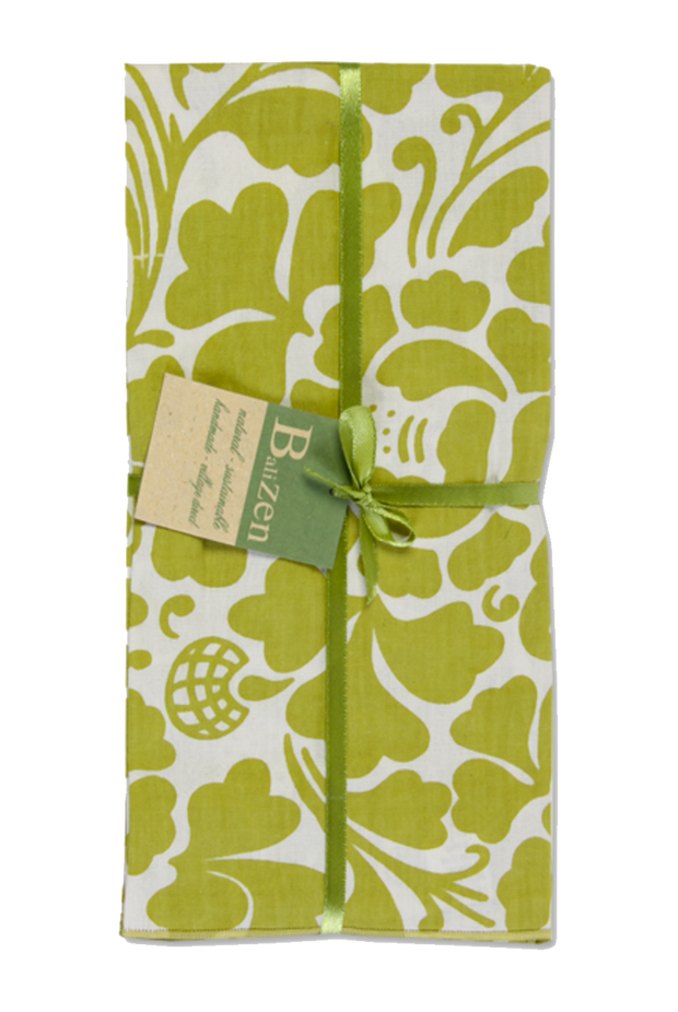 Set of 4 - Green Tropical Flowers Cotton Napkins Handmade in Bali - British Malaya Shop