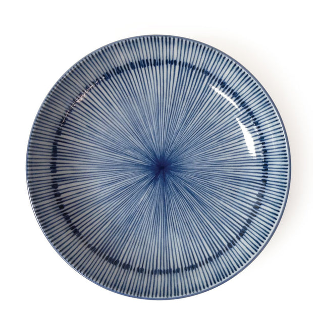 Set of 4 Japanese Blue & White Spoke Pattern Dessert/ Salad Plates - British Malaya Shop