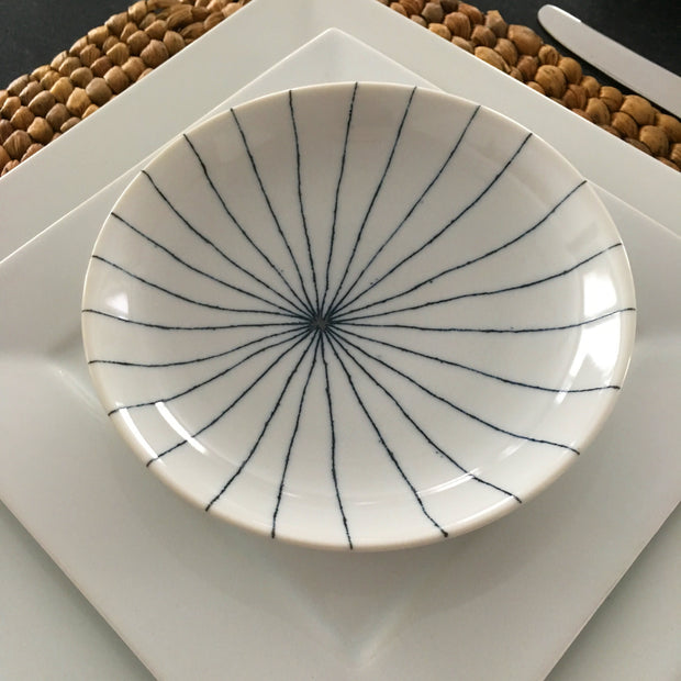 Set of 4 Japanese Blue & White Minimalist Sunburst Patter Dessert/ Salad Plates - British Malaya Shop