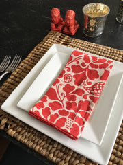Set of 4 - Vibrant Red Tropical Flowers Cotton Dinner Napkins Handmade in Bali - British Malaya Shop