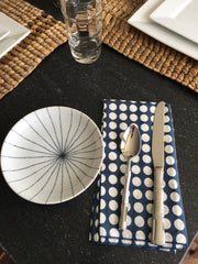 Set of 4 - Indigo Blue Polka Dot Cotton Napkins Handmade in Bali - British Malaya Shop
