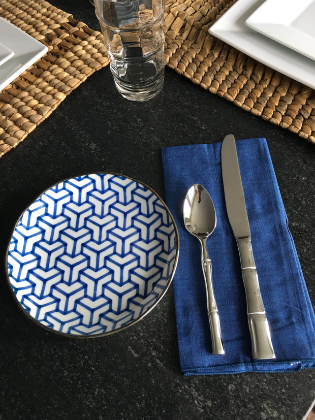 Set of 4 - Indigo Blue Hand loomed Cotton Dinner Napkins Handmade in Bali - British Malaya Shop