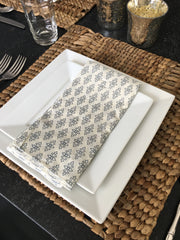Set of 4 - Boho Navy Jewel Cloth Dinner Napkins Handmade in Bali - British Malaya Shop