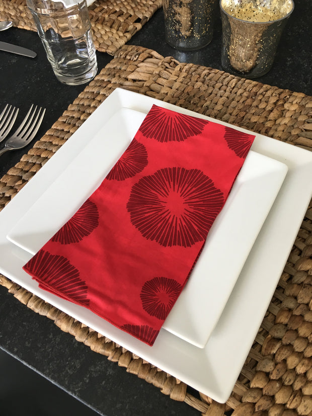 Set of 4 - Retro Red Sea Flowers Cotton Napkins Handmade in Bali - British Malaya Shop