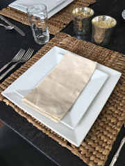Set of 4 - Boho Beige Cloth Dinner Napkins Handmade in Bali - British Malaya Shop