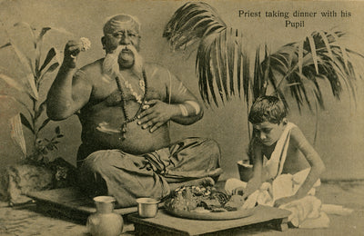 Vintage 1907 Priest & Pupil in Bombay (Mumbai) India Art Print - British Malaya Shop