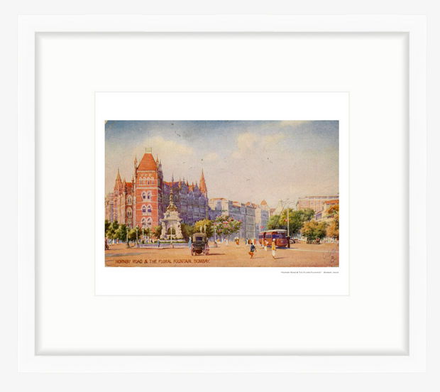 Vintage 1919 Hornsby Road & Flora Fountain Bombay (Mumbai) India Art Print - British Malaya Shop