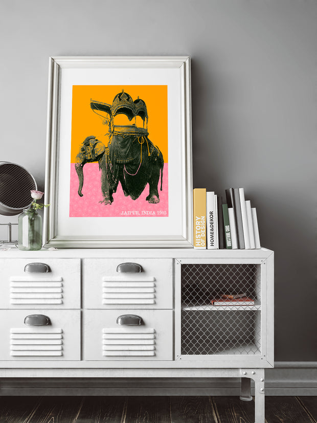 Fancy Elephant in Jaipur, India REMIX Original Fine Art Print
