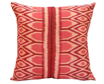 Square Red Ikat Handwoven Pillow Cover from Java - British Malaya Shop