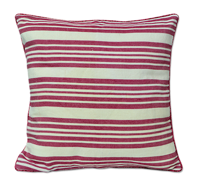 Red Marsala Striped Pillow Cover Handmade in Bali - British Malaya Shop