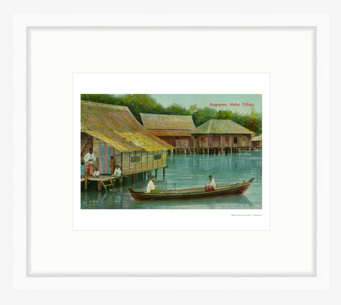 Vintage Hand Tinted Malay Village in Singapore Fine Art Print