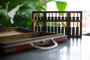Vintage Chinese Abacus with Dragon & Phoenix Motif Case