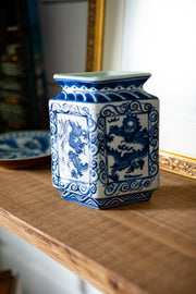 Vintage Chinese Blue & White Dragon Vase