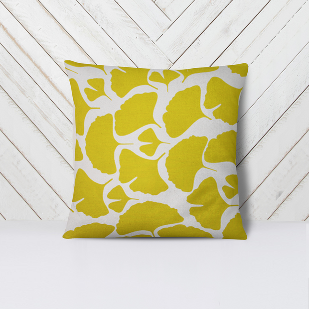 Yellow Gingko Leaf Pillow Cover Handmade in Bali - British Malaya Shop