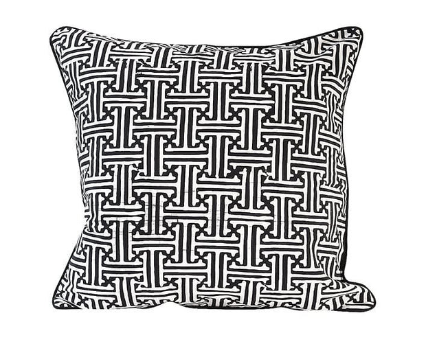 Black & White Square Batik Weave Pillow Cover Handmade in Java - British Malaya Shop