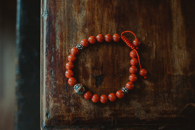 Red Tibetan Sunset Bead Mala/ Bracelet