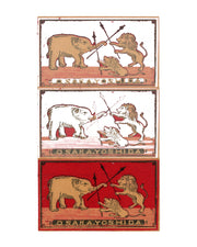 Dueling Elephant & Lion Vintage Japanese Matchbook Original Fine Art Print
