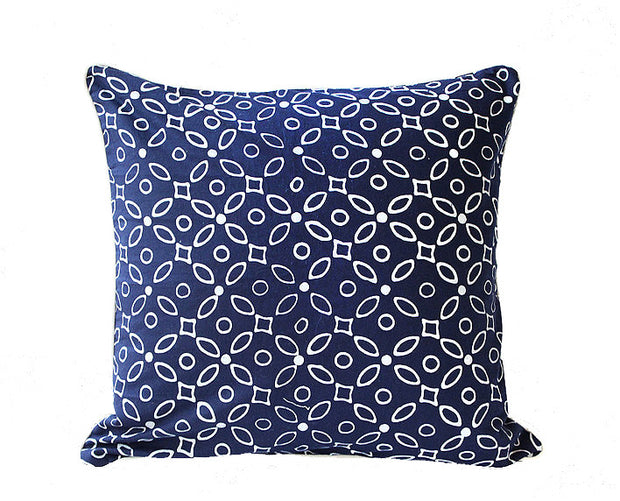 Indigo Kawung Batik Pillow Cover Handmade in Java - British Malaya Shop